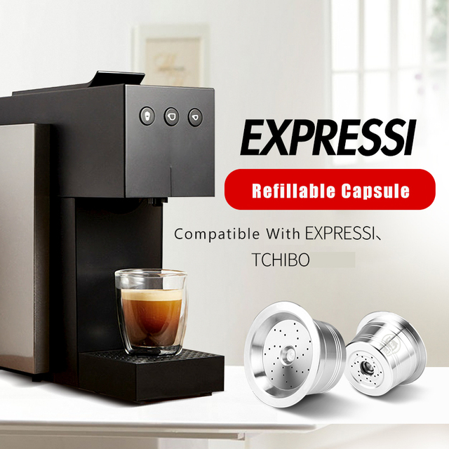 For Caffitaly Tchibo Cafissimo ALDI Expressi Refillable K fee Coffee Capsule Pod Filters Stainless Steel Cafeteira Tamper Spoon