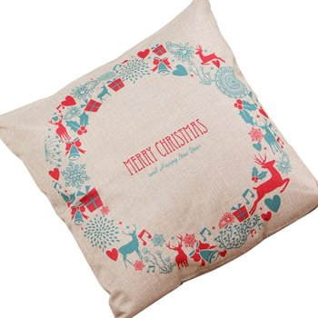 Christmas New Year Series Christmas Gift Print Linen Pillow Case Cushion Cover Home Decor Bows Christmas bellChristmas Bella image