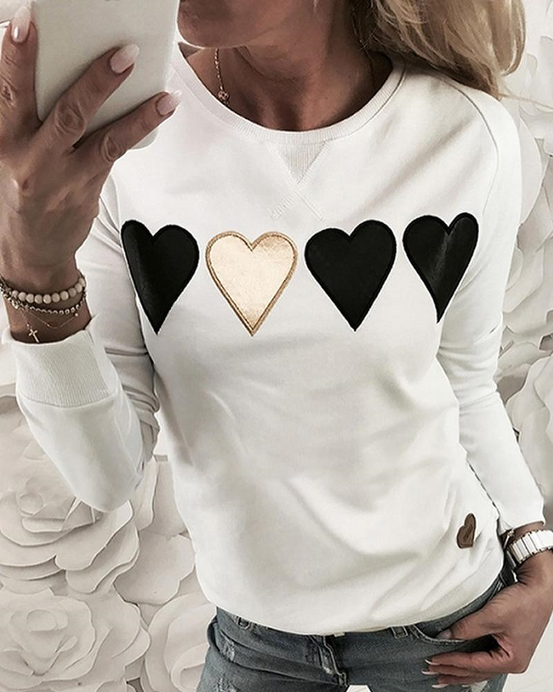 Full Sleeve Heart Pattern Casual Tshirts For Women Spring Cotton Round Neck Tops Tee Lady Clothes