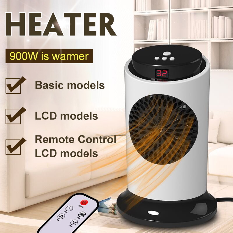 220V 900W Electric Heaters Mini Fan Heater Home Indoor Portable Personal Space Warmer Basic/LCD/Remote Control Silent Heaters