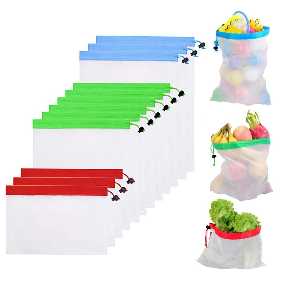 12pcs/lot Vegetable Drawstring Fruit Net Bag Reusable Storage Pouch Toys Nylon Rope Mesh Market Shopping Bags