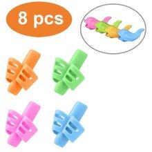 8Pcs/Set Children Pencil Holder Tools Silicone Two Finger Ergonomic Posture Correction Tools Pencil Grip Writing Aid Grip