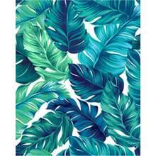 Тропические листья в стиле ruopoty зеленые декоративная картина