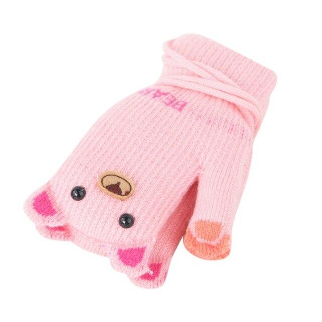 Details about  /Kid Girl Boy Unisex Winter Knit Cartoon Patchwork Cute Warm Mitten Lanyard Glove