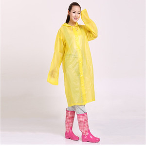 Image 4 - ファッション女性男性エヴァ透明レインコートポータブルアウトドア旅行レインウェア防水キャンプフード付きポンチョプラスチック雨カバー