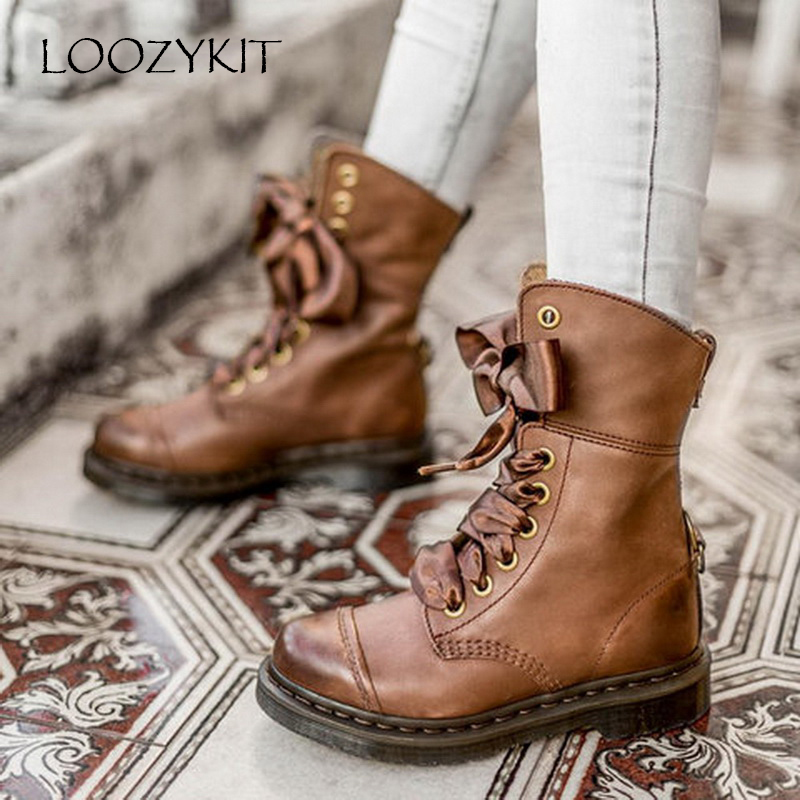 LOOZYKIT Women Boots Lace-Up Motorcycles Retro Female Vintage Plus-Size 35-43 Mid-Calf
