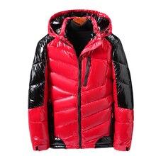 5XL 7XL 9XL 2020 New Winter Men Jacket Casual Parka Bright Leather Outwear Waterproof Thicken Warm Stand Collar Outwear Coat