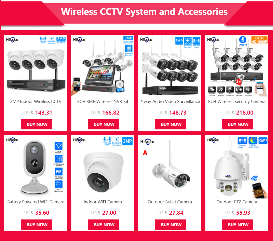 "Hiseeu 8CH 3MP Wireless Surveillance Camera CCTV Kit with 10.1"" Monitor for 1536P 1080P 2MP Outdoor Security Camera System Set"