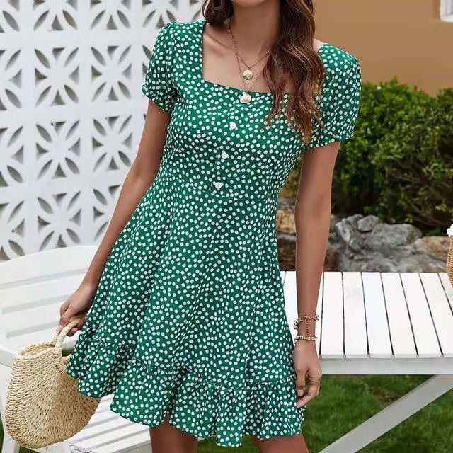 Fashion Women's Summer Flower Print Short Sleeve Dress Button Dress Casual Elegant Party Dress Loose Ruffle Dress Vestido 2