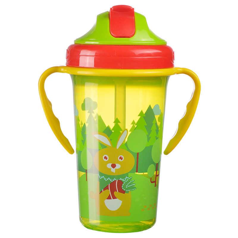 400ML taza de alimentación Linda para bebé con paja BPA libre botella de alimentación portátil a prueba de fugas con mango niños entrenamiento Tritan Bebe Copos