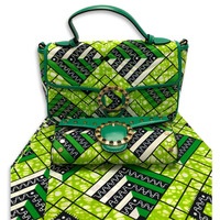 African Fashion Design Wax Fabric With Women Handbag For Wedding Hot Sale Wax Bag And Cotton Material Fabric Set On Stock