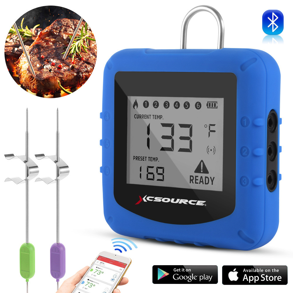 Wireless Smart Bluetooth Remote BBQ Meat Thermometer Kitchen Meat Oven Cooking Temperature Monitor Real-Time Alarm App Reminder