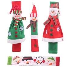 4 шт Рождественское украшение на холодильник, дверные ручки, крышки, Мультяшные милые микроволновые дверные ручки холодильника, наборы, Рождественский подарок