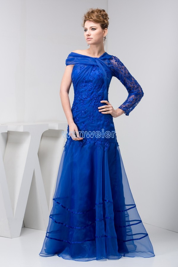 Free Shipping 2016 New Design Hot Sale Brides Maid Gown Cap Sleeve Custom Size/color Long Sleeve Floor-Length Blue Evening Dress