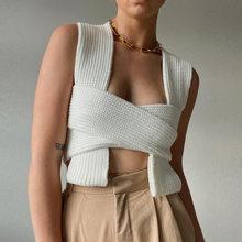 Top court tricoté à bretelles blanches pour femme, Camisole sexy, à la mode, Style Ins, nouvelle collection 2021