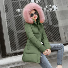 2020 winter women long jacket solid slim parka mujer style plus size hooded fur collar thick outwear coat clothing woman jacket(China)