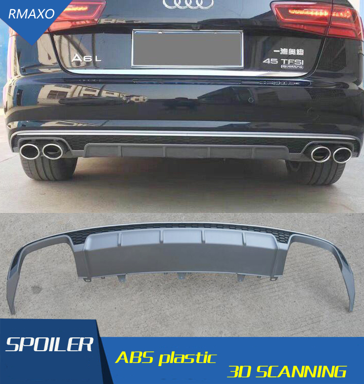 For Audi A6 S6 Body kit spoiler 2016-2017 For Audi A6 RS6 dd ABS Rear lip rear spoiler front Bumper Diffuser Bumpers Protector image