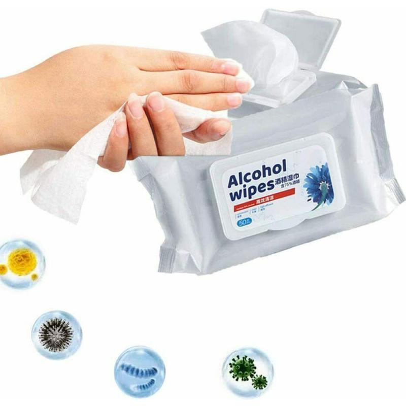 50pcs Alcohol Disinfect Wipes 75% Super Soft Alcohol Wipe Antiseptic Pads Large Wet Wipes 8x6 Sterilization First Aid Cleaning