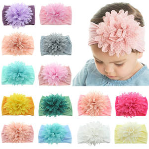 Flower Headband Band-Accessories Hair-Bow Lace Toddler Baby-Girl Kids New Solid 14COLOR