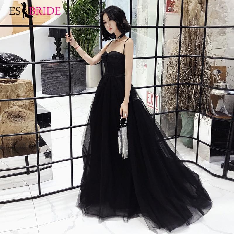 Sexy Vestidos De Fiesta De Noche Blackless Evening Dress 2019 Formal Gown Strapless A-line Party Prom Dresses ES30338