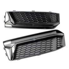 Car Styling a Pair of Chrome Fog Light Cover Grille Silver Black Trim Grill Bezel Fit For AUDI A4 S4 S-Line B9 2016-18(China)