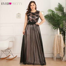 Plus Size Lace Evening Dresses Long Ever Pretty A-Line O-Neck Sleevele
