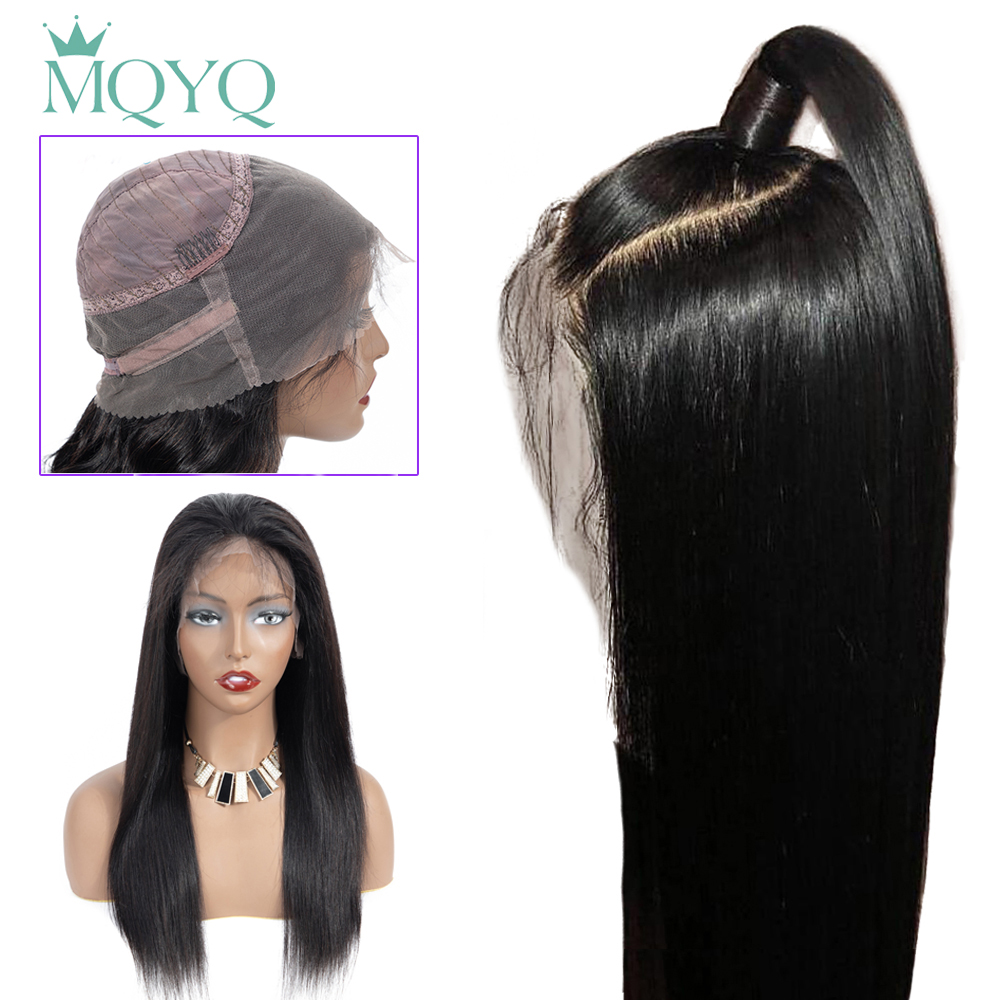 MQYQ 360 Lace Frontal Human Hair Wigs 13*4 Lace Front Human Hair Wigs Brazilian Straight Wigs With Baby Hair Natural/2#/4#Color