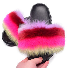 Furry Slides New Arrival Girl Fluffy Faux Fox Fur Slippers Fashion Fuzzy Slides Women Shoes Plush Fur Slides Wholesale Hot
