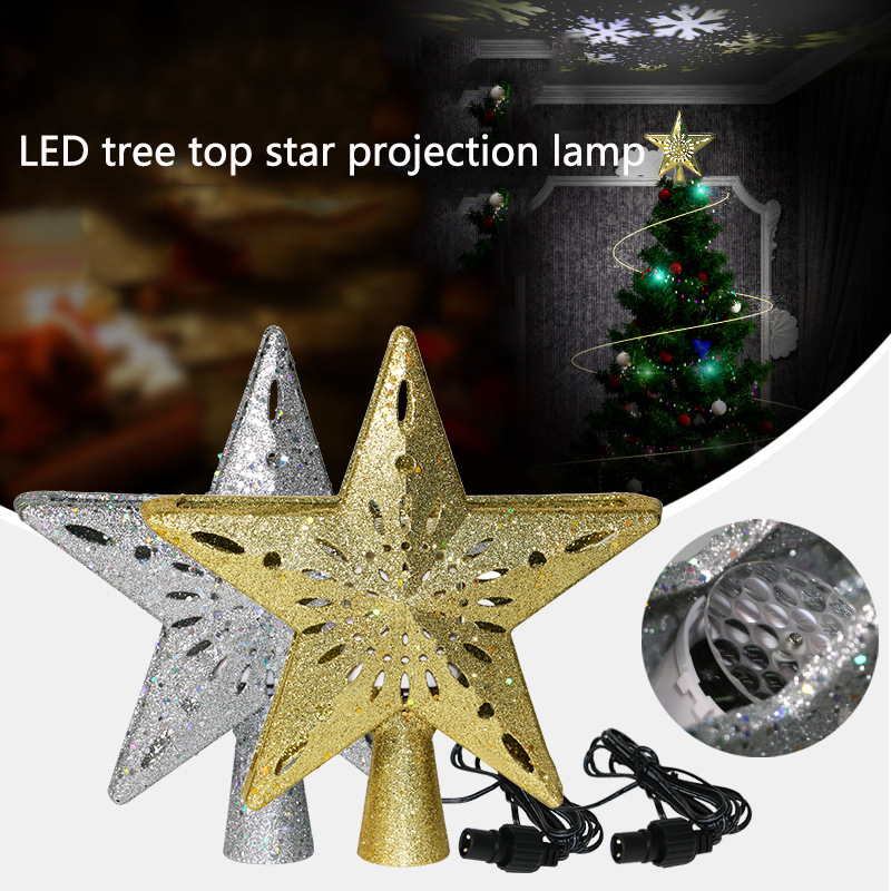LED Christmas Tree Top Star Snowflake Projector Christmas Tree Ornament Pentagram Night Light Christmas Topper Lights Night Lamp