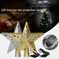 LED Christmas Tree Top Star Snowflake Projector Christmas Tree Ornament Pentagram night light Christmas Topper Lights Night lamp|Stage Lighting Effect| |  -