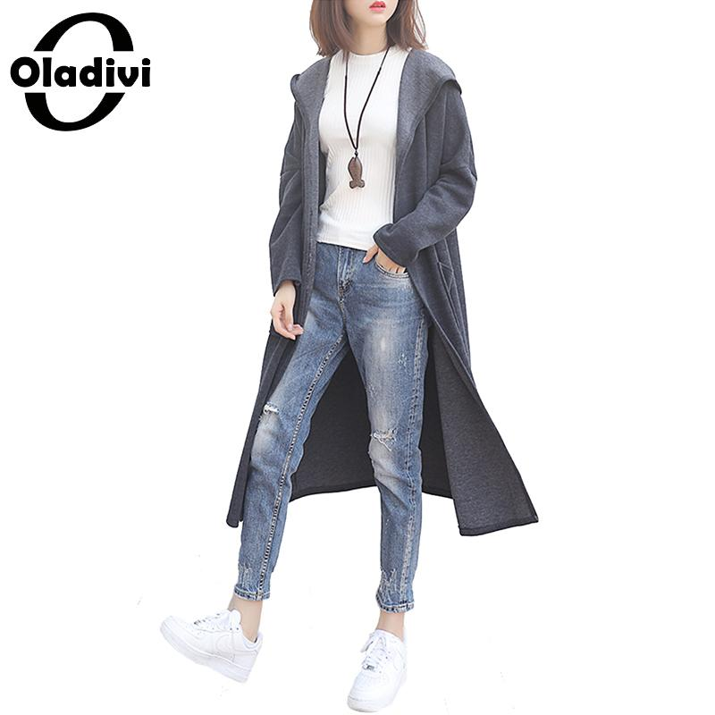 Oladivi Plus Size Women Hooded   Trench   Coat Fashion Lady Casual Loose Overcoats 2019 Autumn New Outerwear Female Cardigan Tops