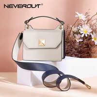 NEVEROUT Schulter Leder Taschen für Frauen Colorblock Umhängetasche Kleine Handtaschen Top-Griff Tote mit Breiten Schulter Gurt