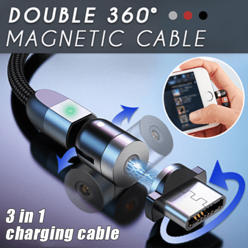 Double 360degree Magnetic Cable for Cell Phone Smartphone Charging 3-in-1 @M23