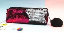 Двухцветная сумка для ручек с блестками модная женская цветная
