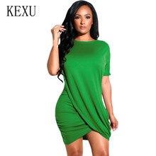 KEXU Sexy O Neck Folds Design Irregular Short Dress Elegant Vinatge Mini Summer Women New Fashion Retro Hollow Out Wear