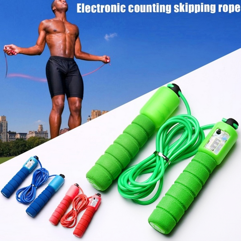 Professional Sponge Jump Rope With Electronic Counter Adjustable Fast Speed Counting Jump Rope Skipping Wire Fittness Gear 2.9m
