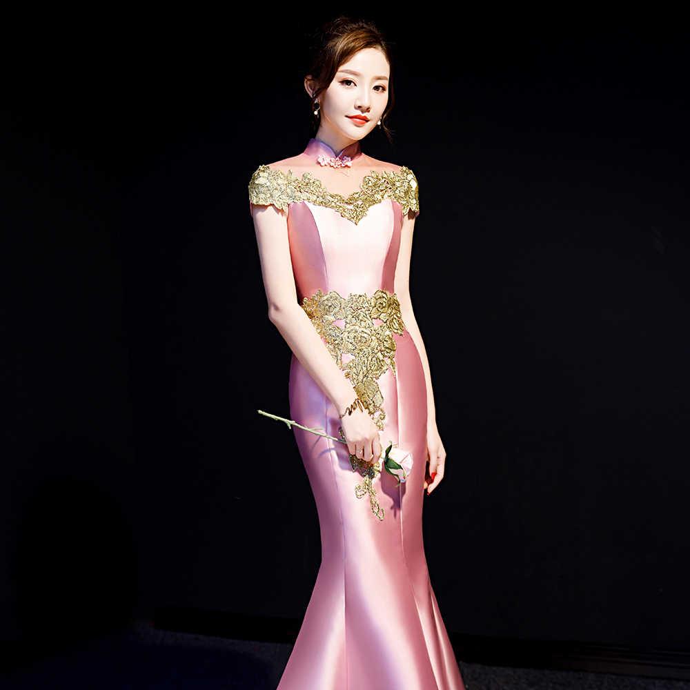 Çin tarzı kadın Cheongsam pembe seksi ince Qipao Mermaid tam boy geleneksel sahne gösterisi gelin cheongsam
