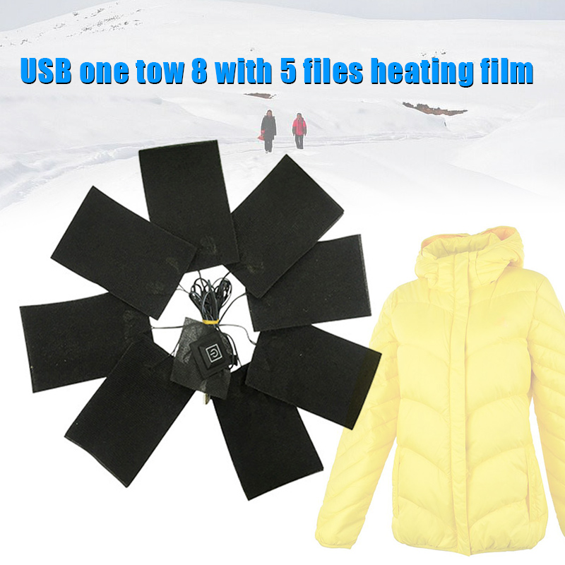 New 8-in-1 USB Heated Pads Vest Warming Down Coat Heating Sheet Clothing Winter 5 Modes VN 68