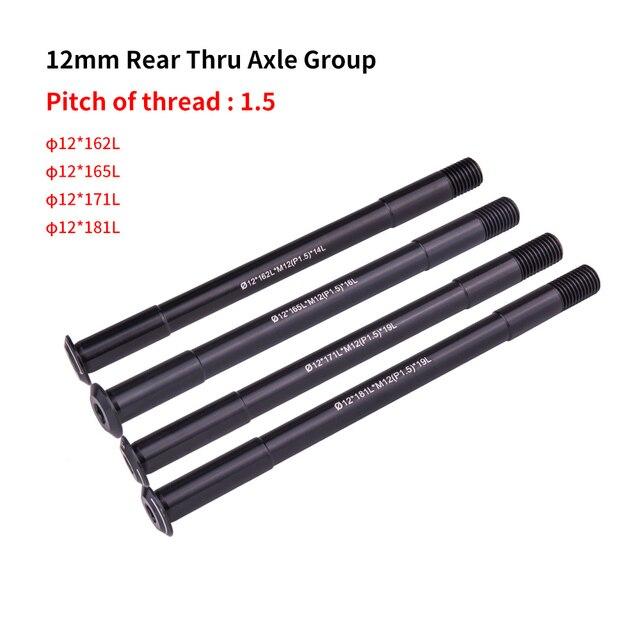 MTB Road Bike Hub Shaft Thru axle Front Rear hub Skewers 12mm 15mm Wheel Axis Hub Shaft 15x100 12x142 12x100 12x148 15x110