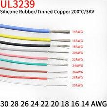 1m 14/16/18/20/22/24/26/28/30awg ul3239 3kv fio de silicone macio flexível isolado cabo elétrico de cobre estanhado 3000v