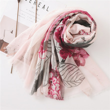 2019 summer voile floral scarf for women spring women fashion blanket shawl designer scarf women luxury poncho head scarves cape все цены