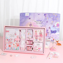 Fairy Tale Style Student Plan Notebook Stationery Set Diary Plan Scrapbook Portable Traveler Journal Notebook