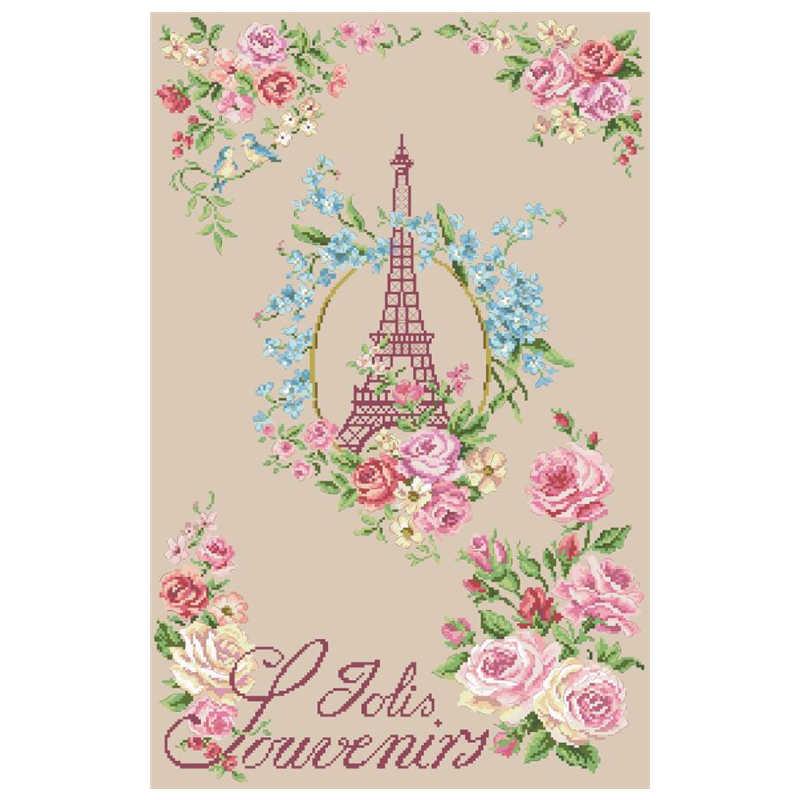 الورد والبرج عبر الابره عدة الزهور تصميم القطن الحرير الموضوع 18ct 14ct 11ct الكتان الكتان الكتان التطريز لتقوم بها بنفسك الإبرة