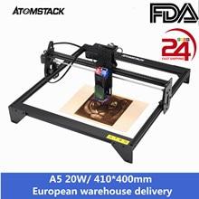 Atomstack a5 20w laser gravador cnc conjunto rápido 410*400mm área de escultura estrutura de metal completo fixo-foco laser proteção para os olhos