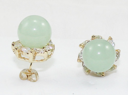 wholesale nice jewelry 10mm light green Natural jade bead 18kgp crystal inlay earrings