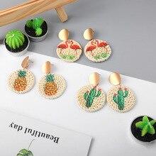 цена на Brand Earrings Rattan Laser Printed Color Stud Earrings Women Alloy Double Round Earrings