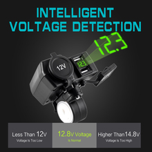 Motorcyle Usb 12V 5V Conerter Socket Charger for mobile phone Quick Charge 4.2A Voltage Display With Switch Waterproof Adapter
