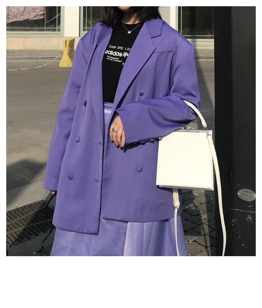 Casual Loose Women Suit Jacket Retro Solid Purple Stylish Jacket Korean High Street Simple Spring Women Party Jacket MM60NXZ