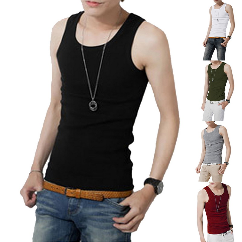 Fitness Bodybuilding Men Tank 2019 Summer O-neck Sleeveless Breathable Undershirt Cotton Solid Male Tank Tops