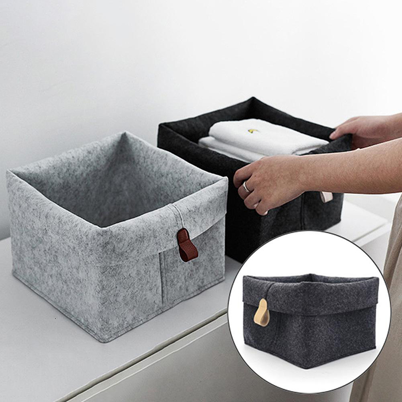 1/2Pcs Multifunctional Felt Storage Basket Toy Bag Clothes Box Foldable Kitchen Container Holder Desktop Decor Storage Organizer